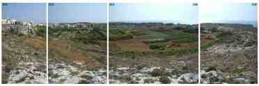 A new crater found on Earth in the Mediterranean - Bahrija, Malta crater - panoramic view