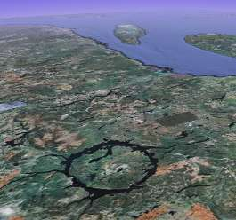 Manicouagan Crater Scoulton Mere Stow Bedon Mere aerial satellite image impact crater or EDM discharge like a Carolina Bay America