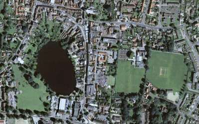 diss mere lake norfolk cricket pitch airplane satellite image photograph