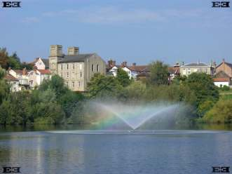 fountain diss mere lake rainbow norfolk england photos