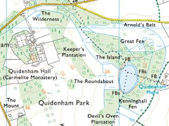 quidenham hall village norfolk map