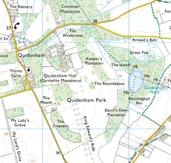 quidenham hall village norfolk map